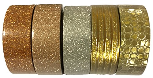 L'artisant Washi Tape Premium Quality Set Of 5 Rolls - Perfect For Fun DIY projects, Decorating School Supplies, Scrapbooks, Planners, Diaries and much more. Glitter 4