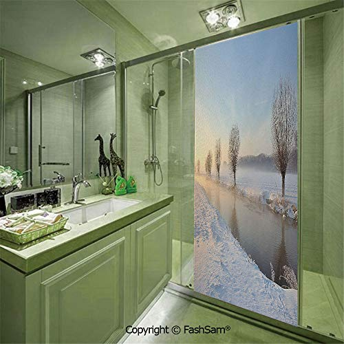PUTIEN Door Glass Sticker Snowy River Landscape Barren and Frosted Trees Dutch Netherlands Europe Photograph Decorative for Bedroom Glass Privacy(W17.7xL47.2)