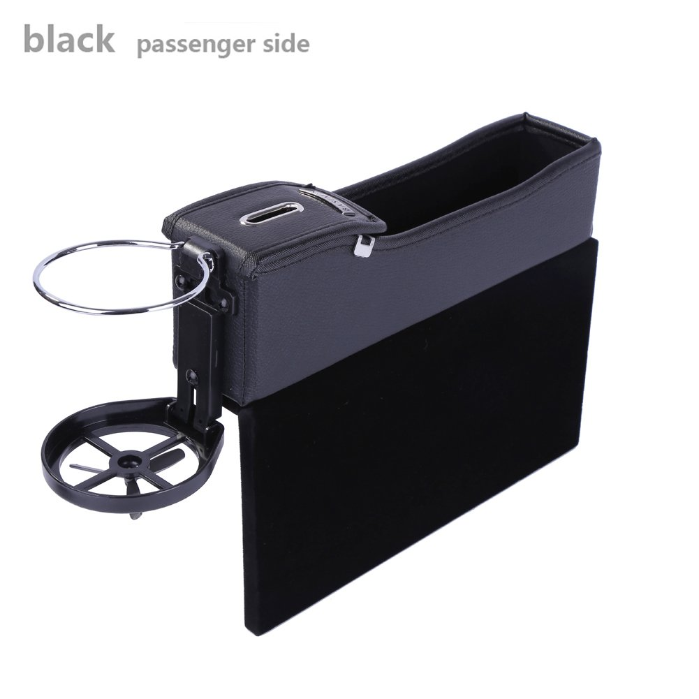 Console Side Pocket Gap Catcher with Coin Organizer and Cup Holder Black, Driver Side Onewell Multi-fuctional Car Seat Leather Storage Box