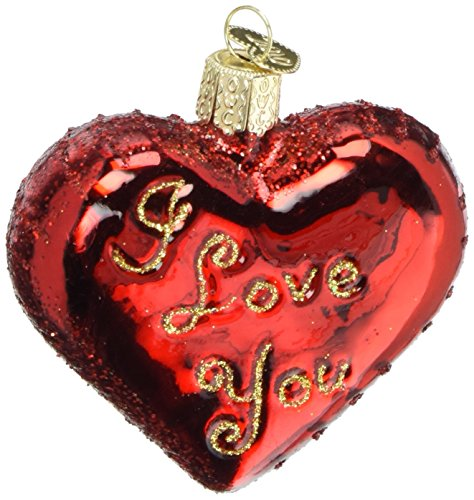 Love Ornament (Old World Christmas I Love You Heart Glass Blown Ornament)