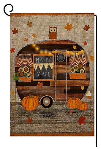 Rustic Fall Pumpkin RV Small Garden Flag Vertical Double Sided 12.5 x 18 Inches Autumn Leaves Owl Burlap Yard Outdoor Decor