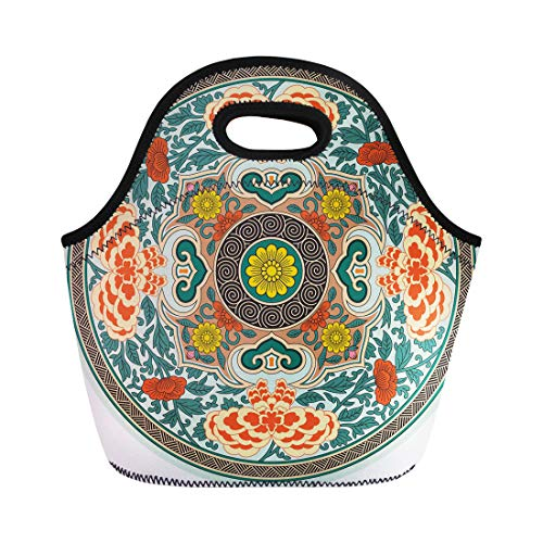 Semtomn Lunch Bags Ancient Plate Chinese Traditional Pattern Rosette China Oriental Flower Neoprene Lunch Bag Lunchbox Tote Bag Portable Picnic Bag Cooler Bag