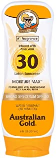product image for Australian Gold Sunscreen Lotion SPF 30, 8 Ounce   Moisture Max   Infused with Aloe Vera   Broad Spectrum   Water Resistant