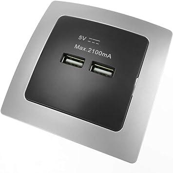 BeMatik - Base de Enchufe 2 x USB A Hembra 80x80mm para empotrar Lille Plata y Negro: Amazon.es: Electrónica