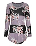 STYLEWORD Women's Long Sleeve Floral Print Casual T-Shirt Blouse Tops