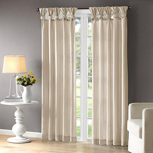 Madison Park Emilia Room-Darkening Curtain DIY Twist Tab Window Panel Black-Out Drapes for Bedroom and Dorm, 50x95, Champagne (Panels Gold Silk Curtain)
