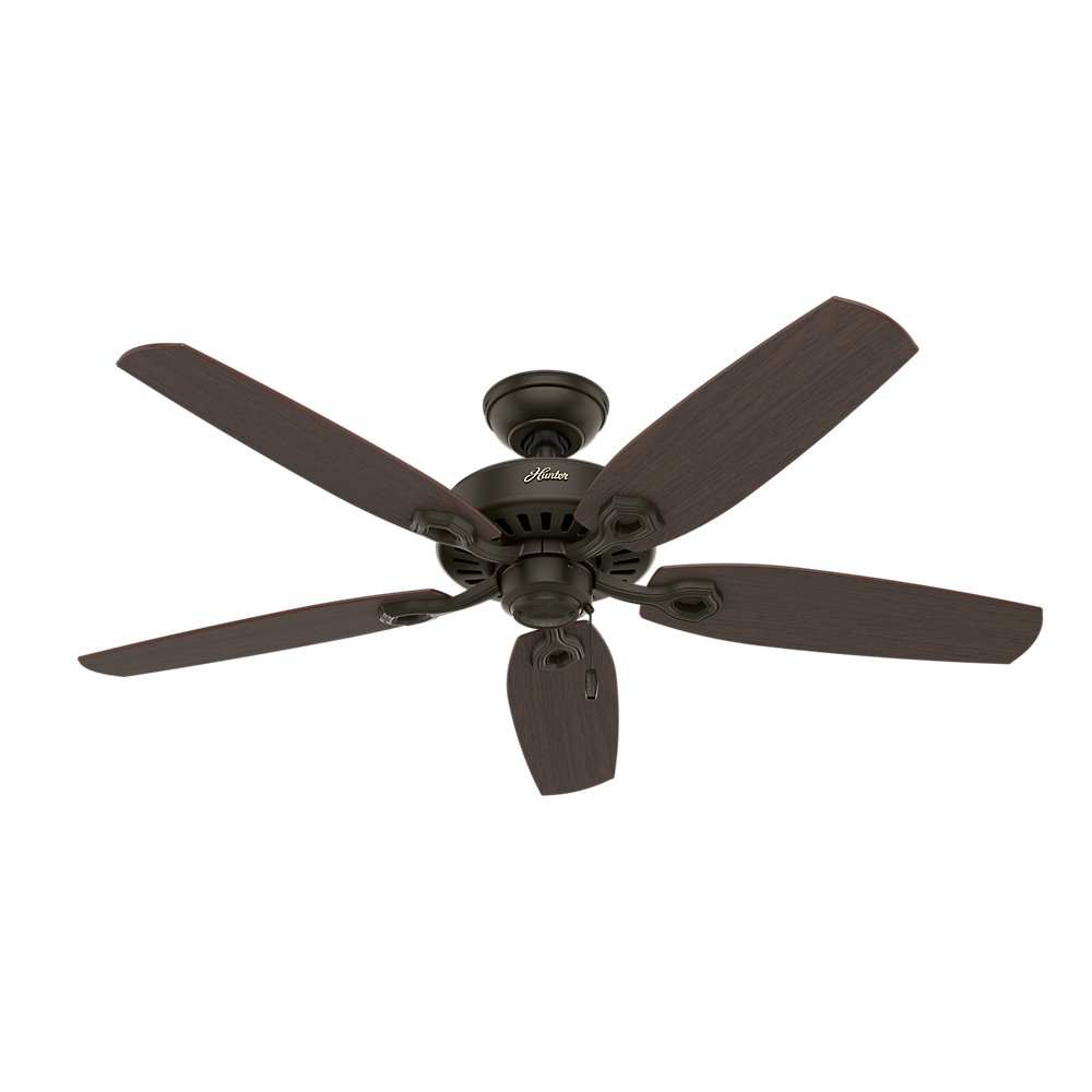 Hunter 53091 Builder Deluxe 5 Blade Single Light Ceiling Fan With Brazilian Cherry Stained Oak Blades And Piped Toffee Glass Bowl 52 Inch
