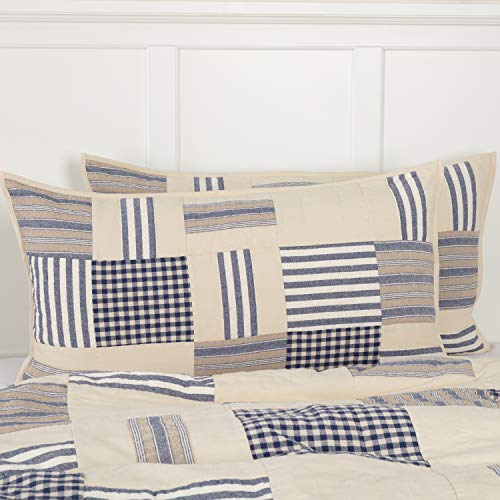 (Piper Classics Doylestown Blue King Size Patchwork Pillow Sham Gingham Checks, Grain Sack & Ticking Stripes, 21