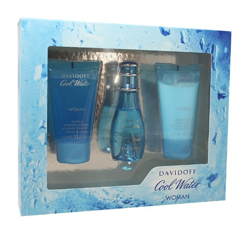 Cool Water Perfume by Davidoff Set - 1 oz EDT Spray, 1.7 oz Body Lotion & Gentle Shower Gel For Women