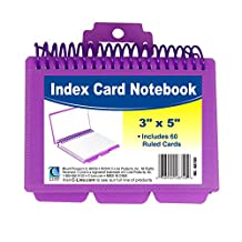 C-Line Spiral Bound Index Card Notebook with Tabs, Includes 60 Ruled 3 x 5-Inch Index Cards, 1 Notebook, Color May Vary (48750)
