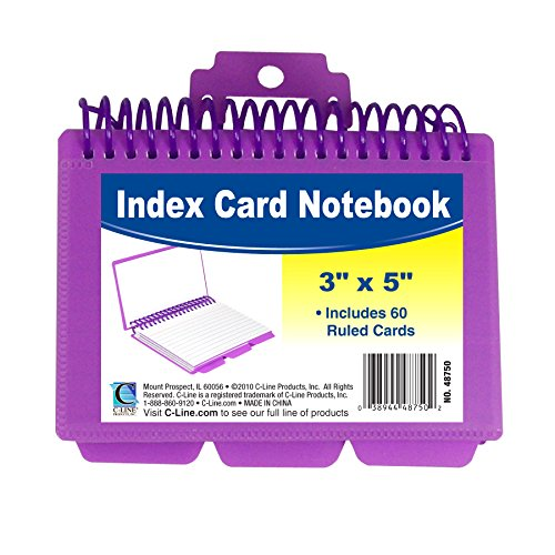 C-Line Spiral Bound Index Card Notebook with Tabs, Includes 60 Ruled 3 x 5 Inch Index Cards, 1 Notebook, Color May Vary (Tabbed Index)
