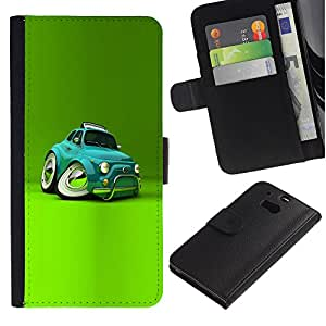 For HTC One M8,S-type® Car Teal Cartoon Kids - Dibujo PU billetera de cuero Funda Case Caso de la piel de la bolsa protectora