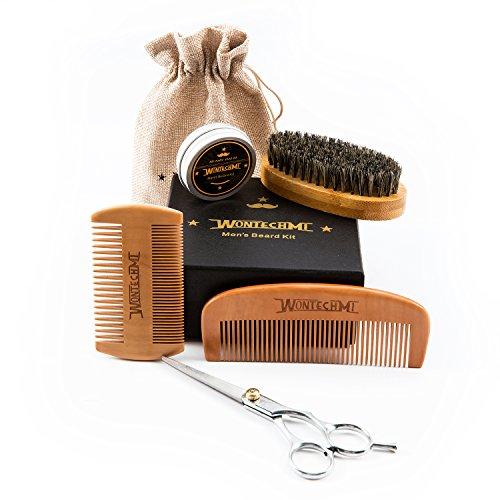 Beard Grooming Kit for Men Care, Beard Brush, WONTECHMI Beard Comb, Beard Boar Bristle Brush, Mustache and Beard Balm Butter Wax, Barber Scissors for Styling, Shaping and Growth Premium Gift Set
