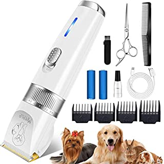 Merece Dog Clippers Grooming Kit - Professional Heavy Duty Dog Grooming Clippers for Small Large Dogs Thick Coats, Quiet Rechargeable Cordless Dog Pet Hair Clippers Pet Grooming Tools for Dogs Cats