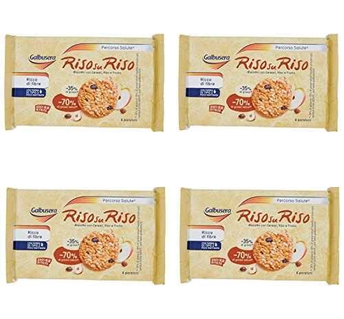 Biscuits Italian - Galbusera Riso su Riso Biscuit with Cereal, Rice and Fruit - 6 x 40 - Total 240gr - Pack of 4