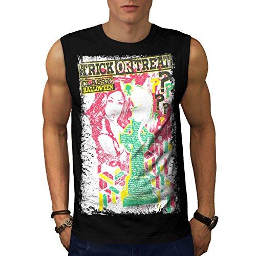 [Trick Or Treat Cat Halloween Lie Men NEW S Sleeveless T-shirt | Wellcoda] (A Christmas Carol Costume Design)