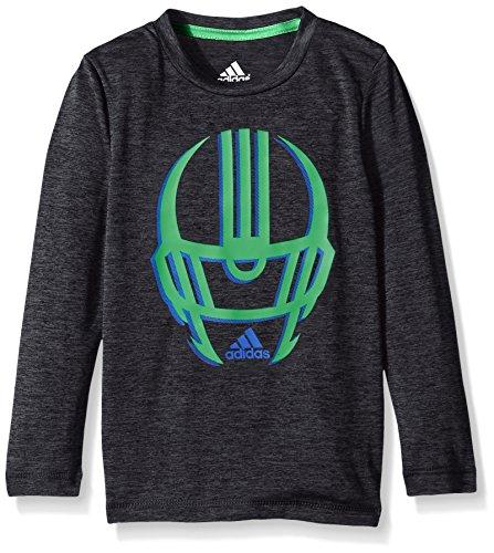adidas Little Boys' Active Long Sleeve Tee Shirt, Black Heather, 7