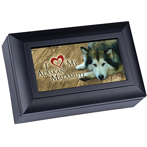 Cottage Garden Love My Alaskan Malamute Matte Black Finish Petite Jewelry Music Box - Plays Song Wonderful World