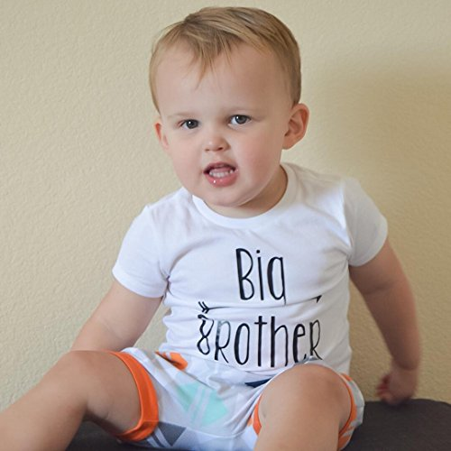 Little Brother&Big Brother Print Arrow Pattern Romper& T-shirt Tee Tops For Boys (6-7 Y, Big Brother)