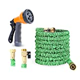 Expandable Garden Hose, Ohuhu 100 Feet Expanding Hose, 100 ft Flexible Water Hose with 3/4 Solid All Brass Fittings Connector & 8 Function High Pressure Spray Nozzle