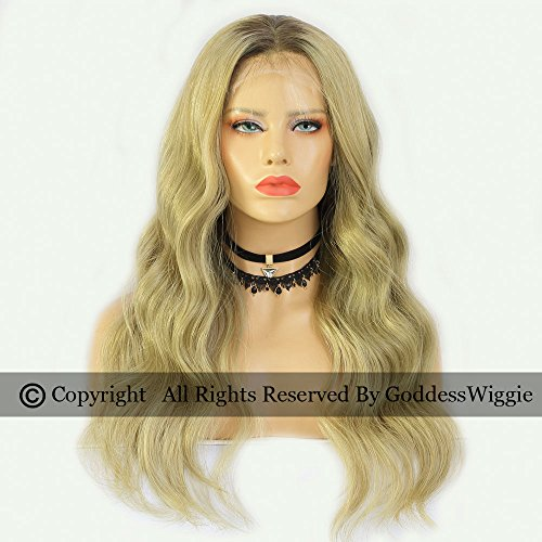 Lace Front Human Hair Body Wavy Wigs Two Tone Ombre Ash Blonde Remy Hair Lace Wigs For Black Women (22inch 150density) by Goddess