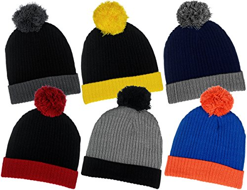 Red Beanie Kids (Boys Traditional Knit Hat with Wraparound Cuff and Pom Top 6 Great Colors Combos (B6B1483 Black Red))