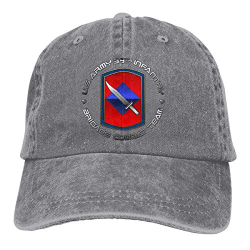 39th Infantry Brigade SSI Mens Cotton Adjustable Washed Twill Baseball Cap Hat Gray