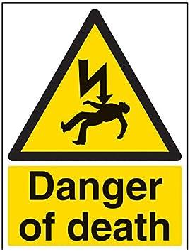 vsafety signos 68027an-rpeligro de muerte ADVERTENCIA Señal eléctrica, 1mm plástico rígido, vertical, 150mm x 200mm Salud ocupacional y productos de seguridad color negro/amarillo