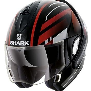 Shark Moto Casco Hark – Evoline 3 Corvus, Negro/Rojo, tamaño M