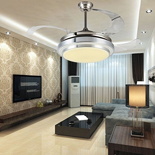 Yue Jia 42 Inch Promoting Natural Ventilation Invisible Fan Modern Luxury Dimmable (Warm/Daylight/Cool White) Chandelier Foldable Ceiling Fans for Rooms With Lights Ceiling Fan with Remote Control by YUEJIA (Image #1)