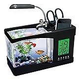 UMFun Mini USB LCD Desktop Lamp Light Fish Tank Aquarium LED Clock mini Aquarium 24x20x9.7cm (Black)