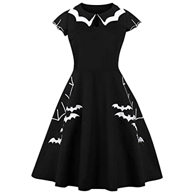 14efb234baf RoseGal Women Vintage Halloween Bat Plus Size Dress Round Collar Short  Sleeve Keyhole (XL