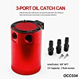 #6: Sporacingrts Compact Black Baffled 3-Port Oil Catch Can 2 Inlets 1 Outlet Red