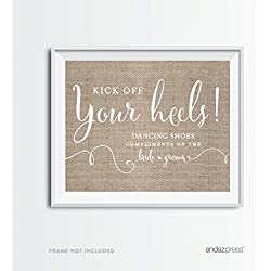 Andaz Press Wedding Party Signs, Country Chic Burlap Print, 8.5x11-inch, Dancing Shoes Kick Off Your Heels Flip Flop Sandals Dance Floor Reception Sign, 1-Pack