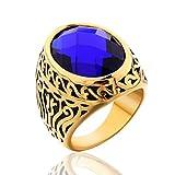 MASOP Vintage Mens Stainless Steel CZ Ring Gold Biker Celtic Band Royal Blue Round Stone Size 8