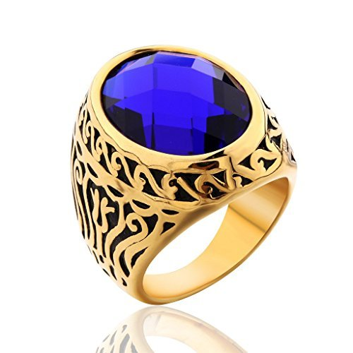 MASOP Jewellery Vintage Mens Stainless Steel CZ Ring Gold Biker Sapphire Color Blue Stone Size 9 (Sapphire Biker Ring)