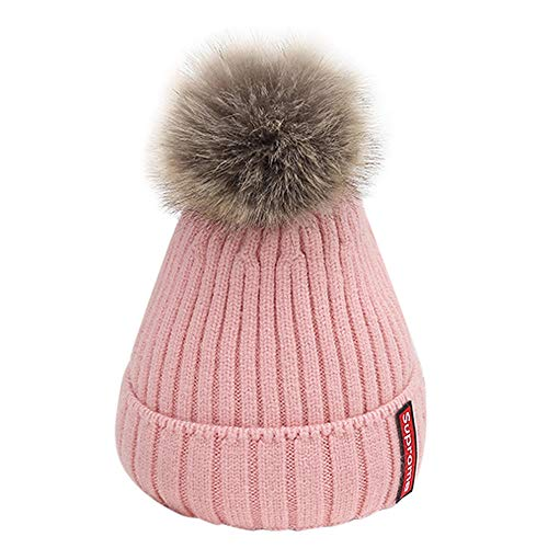 Nylon Striped Gloves (Outtop(TM) Baby Headbands Toddler Kid Girl&Boy Infant Cute Ball Knitted Crochet Beanie Winter Warm Hat Cap (3M~5T(3months~5years), Pink))