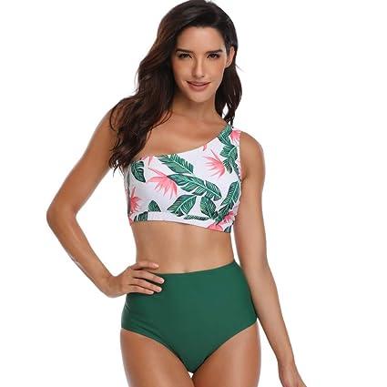 e0df7999ba546 Amazon.com: WensLTD Women 2 Piece Palm Leaf Print Off-Shoulder Bikini Top  with High Waisted Bottom Bathing Suit Swimsuit (XL, Green): Kitchen & Dining