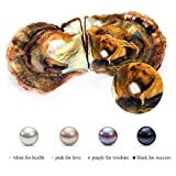 DHmart Vacuum-Packed 6-7mm Round Akoya Pearls in Oyster White Pink Lavender Black Saltwater Pearl