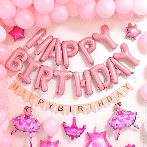 [スポンサー プロダクト]誕生日 飾り付け セット 豪華147点 風船 女の子 HAPPY BIRTHDAY ガーランド 五芒星 アルミバルーン バースデー パーティー デコレーション 装飾 セット 華やか おしゃれ ポンプ 両面テープ付き