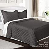 3 Piece Quilt Set King Size By Clara Clark - Luxury Bedspread Coverlet Soft All Season Microfiber - Machine Washable - Comes in Many Colors - set includes Quilt & Shams