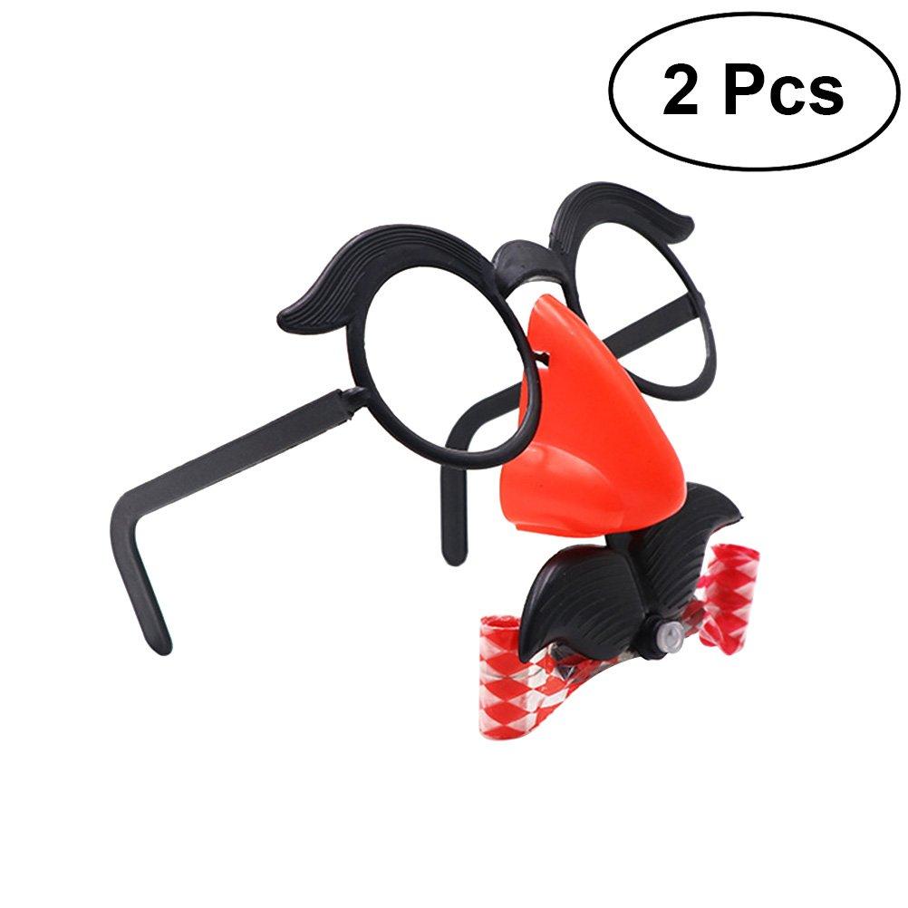 LUOEM 2 piezas de accesorios divertidos nariz bigote gafas silbido traje redondo marco nariz falsa Soplar dragó n broma accesorios disfraces de Halloween (gran tamañ o, sin ventana nasal, color al azar)