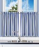 Cheap Ellis Curtain Mason Multi Colored Stripe (Tailored Tier Curtains, 56 x 24″, Blue)