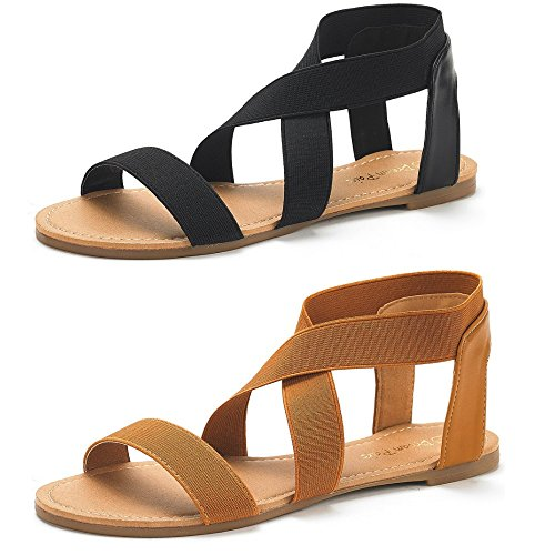 DREAM PAIRS Women's Elatica-6 Black and Tan (2 Pairs) Elastic Ankle Strap Flat Sandals - 8 M US