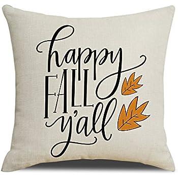 RUOAR Happy Fall Yall Pillow Cover Autumn Happy Season Pillow Fall Decor Cushin Cover 18x18 inch