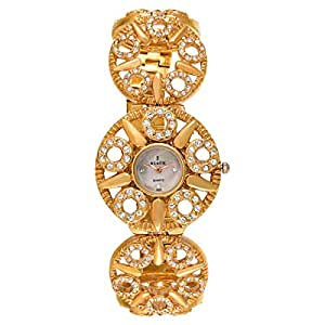 Black Royale Women's White Dial Brass Band Watch - 10786LSRB