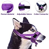 Slowton Nylon Dog Muzzle, Dog Mouth Cover Adjustable Soft Padding Quick Fit Comfortable Muzzles for Medium Large Dog Outdoor Anti Biting Behavior Training Stop Chewing Barking Attach to Collar (Large)