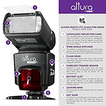 Altura Photo Professional Flash Kit For Nikon Dslr - Includes: I-ttl Flash (Ap-n1001), Wireless Flash Trigger Set & Accessories 1