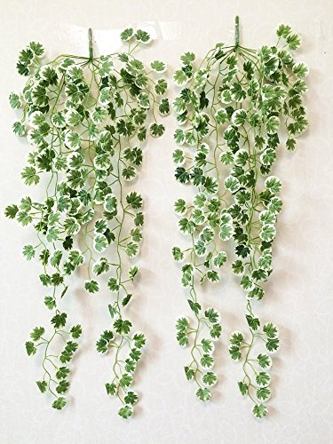 Yatim 90 CM White Crabapple Ivy Vine Artificial Plants Greeny Chain Wall Hanging Leaves For Home Room Garden Wedding Garland Outside Decoration Pack of 2 ¡