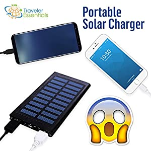 Portable Solar Charger with Removable Logo: Sophisticated, Lightweight, 10000 mAh Capacity, 2 USB Port for iPhone, Android, Tablet. Perfect for Eco Travel
